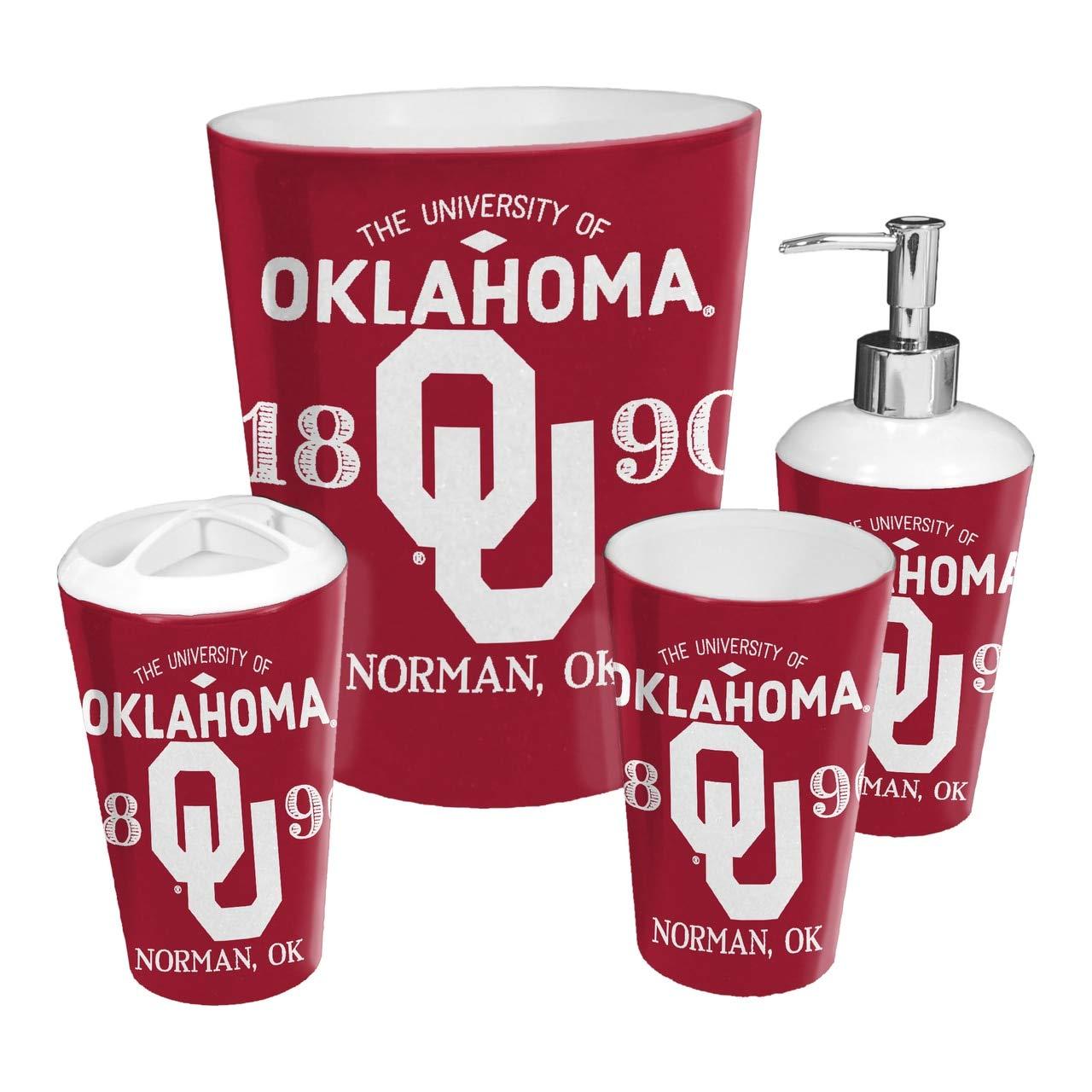 Scatter Series The Northwest Company Oklahoma Sooners NCAA 4 Piece Bathroom Decorative Set