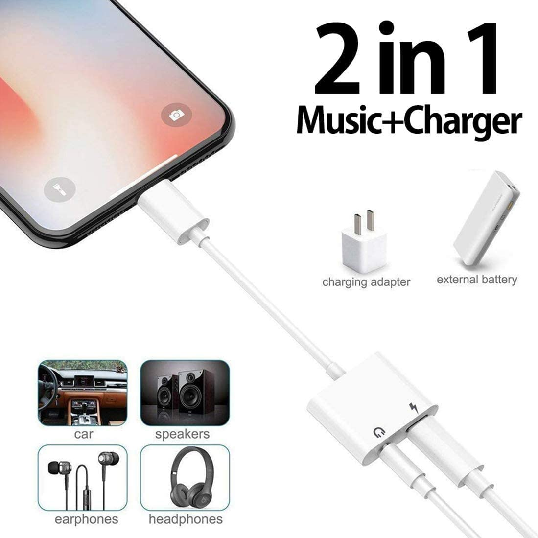 for iPhone Adapter 3.5 mm Jack Headphone and Splitter Charger Adapter for iPhone 11//11 Pro Max//XS//XS Max//XR//8//8 Plus//7//7 Plus 3.5mm Aux Audio Earphone Charger Cable Adaptor Connector Support All iOS