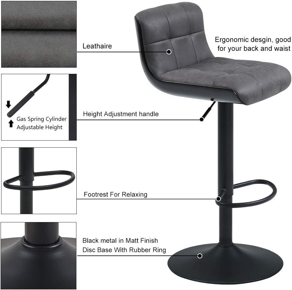 2x Sgabelli da bar plastica materiale:velluto similpelle regolabile in altezza girevole design unico selezione colore Duhome 205 colore:grigio