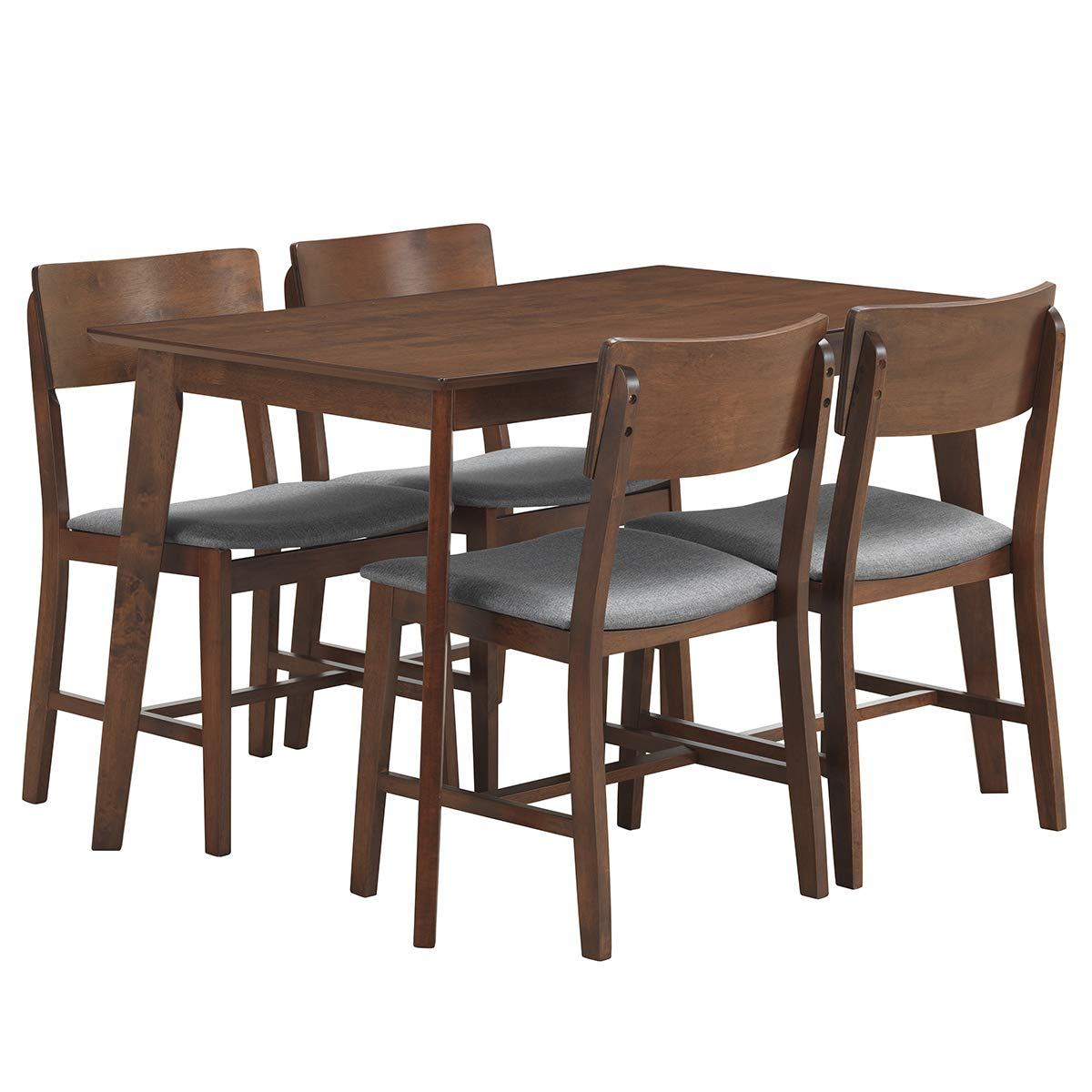 Amazon com giantex 5 piece dining table set with 4 chairs upholstered seat mid century modern kitchen wood large dining room sets gray table chair