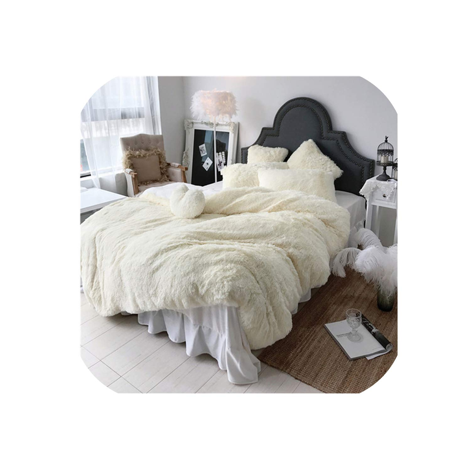 U-See 3/4/6/7 Pcs Pure Color Mink Velvet Bedding Sets 8 Colors Lambs Wool Fleece Duvet Cover Set Bed Skirt Fitted Twin Queen King Size,1,Queen A Size 4Pcs