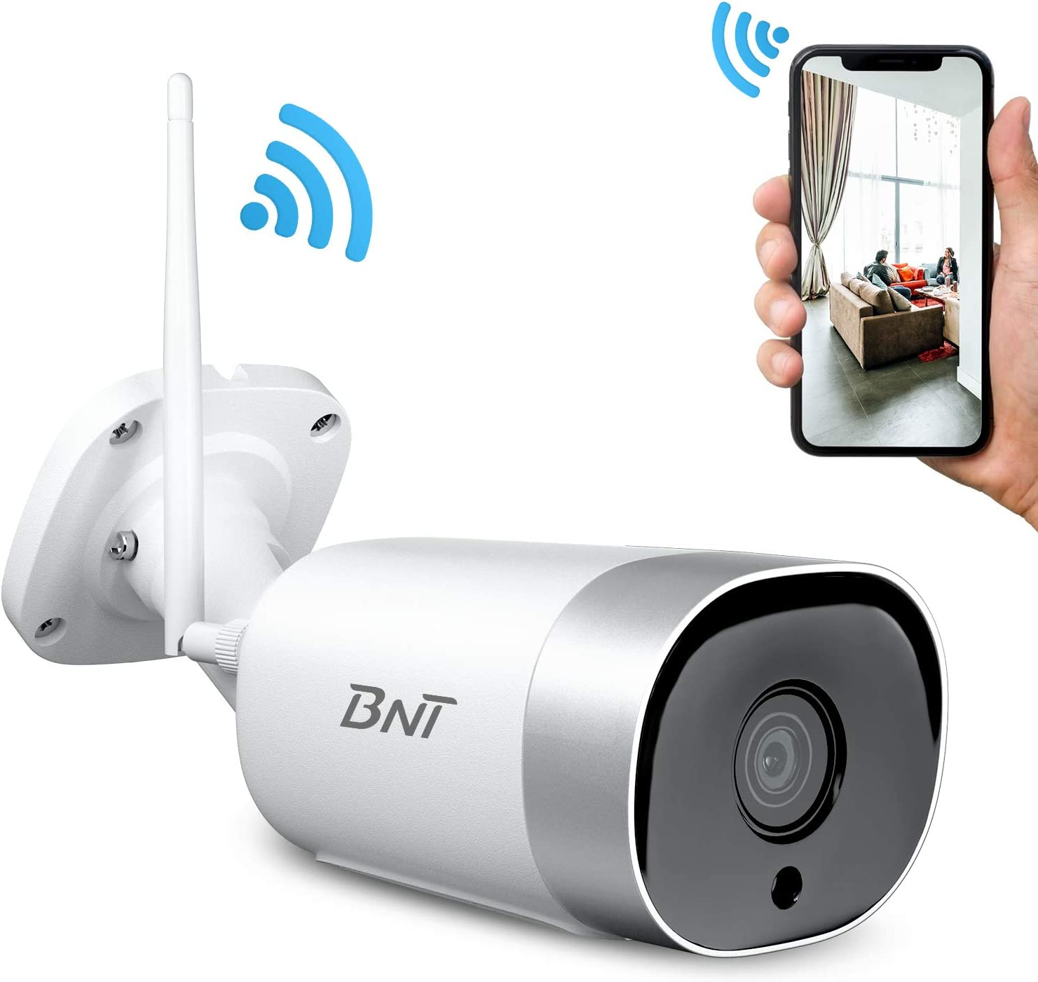 BNT GardenEye Wi-Fi Outdoor Security Camera System, High Score App, 1080P, IP66, Two-Way Audio, Motion Detect and Alert, Night Vision and Cloud Storage