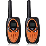 FLOUREON M-880 2x Walkie-Talkies (Pantalla LCD, 8 Canales, 2-Way Radio, alcance hasta 3 km, ), Color naranja