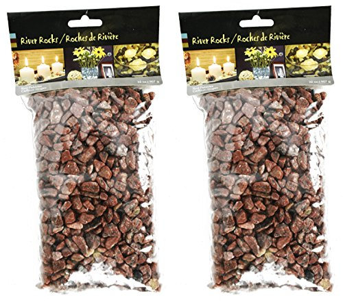 Set of 4lbs of Exotic Aquarium and Vase Gems and Shells! Around 4 Pounds of Gems Perfect For Aquariums, Vase Fillers, Table Scatter, Scrapbooking and Much More! (Red Pebble River Rocks, 4 Pounds) -