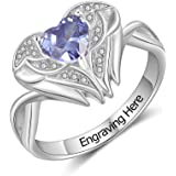 Personalized Mothers Ring with Heart Simulated Birthstone Rings for Women Custom BFF Heart Promise Ring for Women…