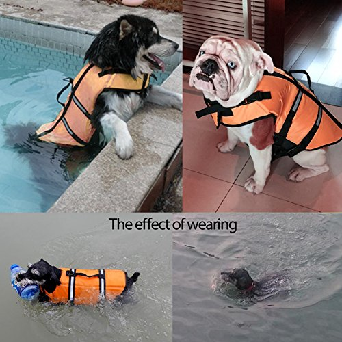 Gtpeak Dog Life Jacket Swimming Vest Saver with professional Flotation Device Reflective Stripe Adjustable Elastic Band Easy Grabbing Different Sizes by Gtpeak (Image #5)