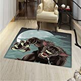 Wolf Print Area Rug Night Skyline Full Moon Stars Werewolf Attacking Position Ravenous Being Perfect Any Room, Floor Carpet 4'x6' Multicolor