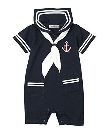 65d3409e263 Amazon.com  stylesilove Baby Boy Marine Sailor Costume Romper Onesie   Clothing