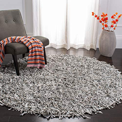 Safavieh Leather Shag Collection LSG511C Hand Woven White Leather Round Area Rug (4' Diameter) (Shag Rug Leather Round)