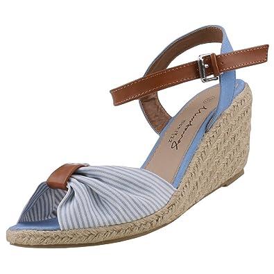 Mustang Damen Keil Sandalette Blau, Schuhgröße:EUR 41