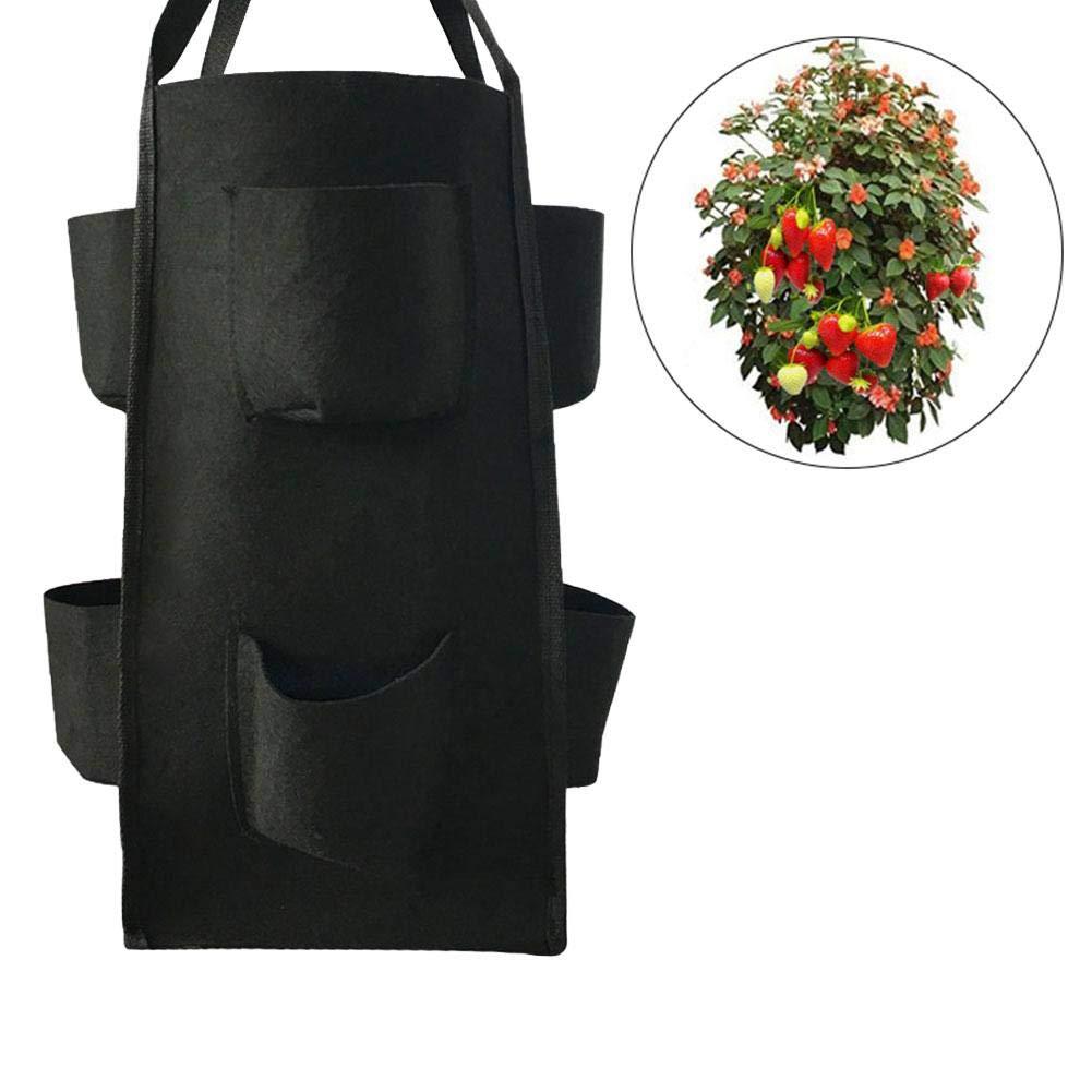 Bolsas para Macetas Colgantes para Patios Bolsas para Plantas con Bolsillo para Flores De Hierbas De Tomate Balcones Patios Jardines Apartamentos Esplic Bolsa para Macetas con Fresas Colgantes