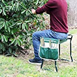 SONGMICS Garden Kneeler Seat with EVA Kneeling Pad and Tool Pouch UGGK49L