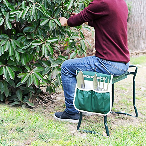 songmics garden kneeler bench with eva kneeling pad and