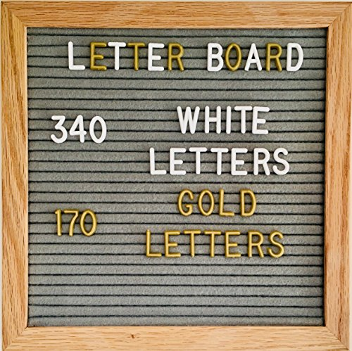 Changeable Felt Letter Board Grey 10x10 inches.Message Board With Plastic White & Gold Letters, Numbers, Punctuation Marks & Symbols - Oak Wood Frame With Wall Mount - Bonus Bag ()