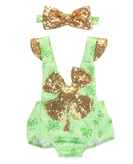 3d520716ad Toddler Baby Girl Sequins Lucky Charm Romper Jumpsuit Playsuit Sunsuit  Outfits (0-6 Months