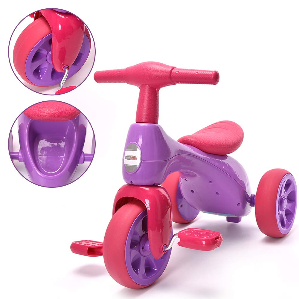 ChromeWheels Baby Balance Bike, Toddlers' Tricycle Walker with BB Sound for 18-36 Months, Purple