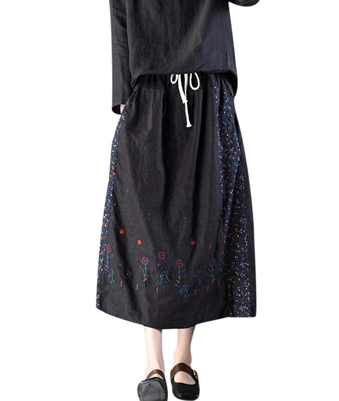 ee772493f9 Top5  YESNO Y35 Women Casual Loose  A  Skirt Ethnic Embroidery Chinese  Traditional Frog Pocket