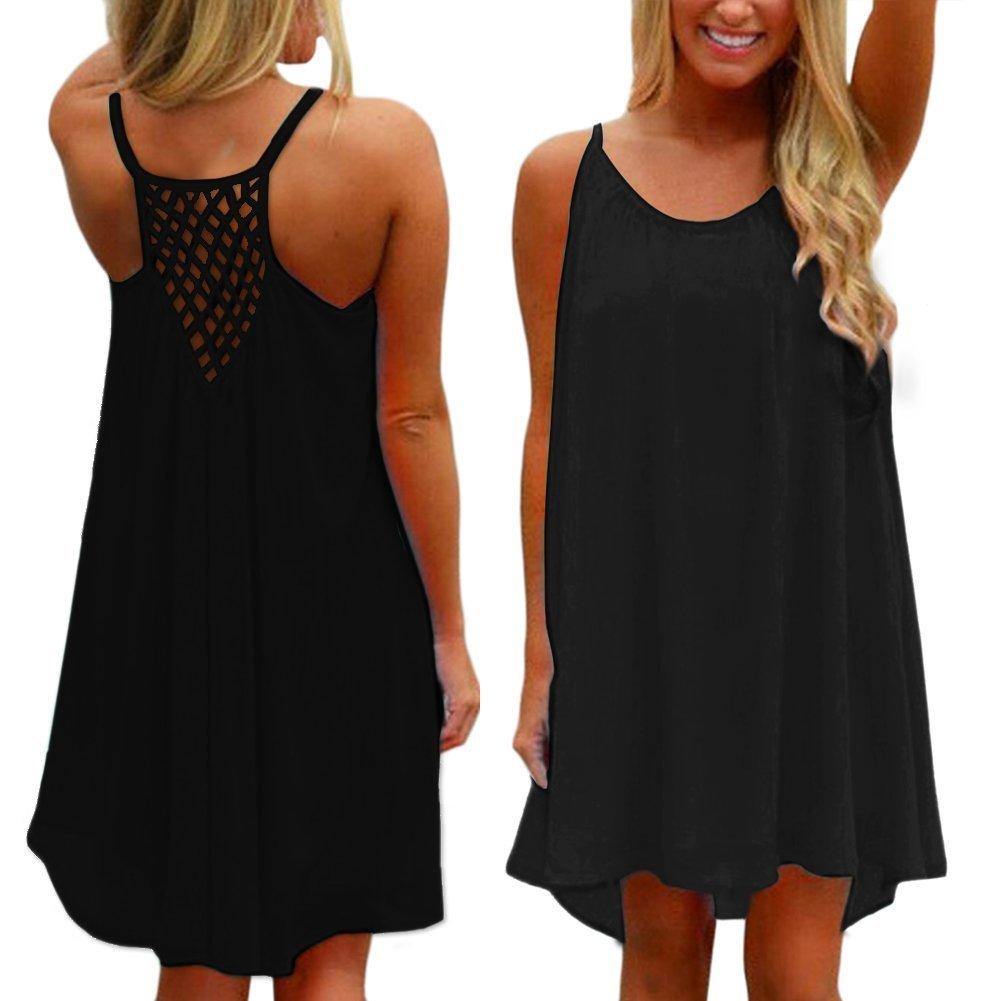 ASCHOEN Damen Minikleid Sommerkleid Strandkleid A-line Kleid Chiffon Abend  Partei Kurzschluss: Amazon.de: Bekleidung