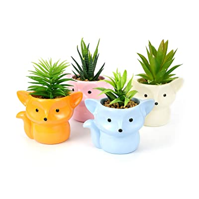 Set of 4 Fox Planters in 4 Different Colors, Succulent Pots, Fox Planter Pots, Animal Planter, Nursery Planters, Resin Fox Gifts, Fox Flower Vase : Garden & Outdoor