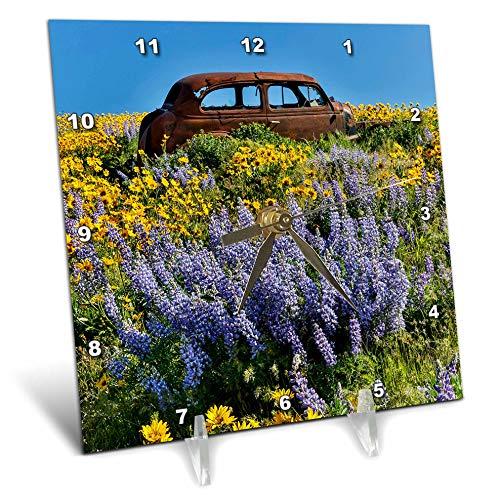 (3dRose Danita Delimont - Scenics - Old car, Spring Field Near Dalles Mountain Ranch SP, Washington State - 6x6 Desk Clock (dc_315135_1))