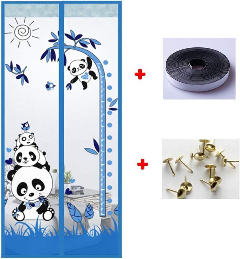 Giow Cortina de Puerta, magnético o de la Mosca Puertas de Screens automático Cierre Fácil de Instalar para el balcón corredizas Sala Panda Brown 95 * 210cm de Puertas Sala Niños