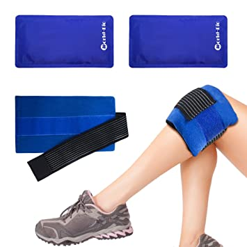 Paquete de 2 bolsas de gel reutilizables con banda de compresión: terapia de frío y calor en cuello, rodilla, hombro, brazo y cabeza. Alivio eficaz ...