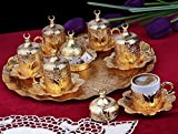 26 Pieces Ottoman Turkish Greek Arabic Coffee Espresso Guest Serving Cup Saucer Set,Gold