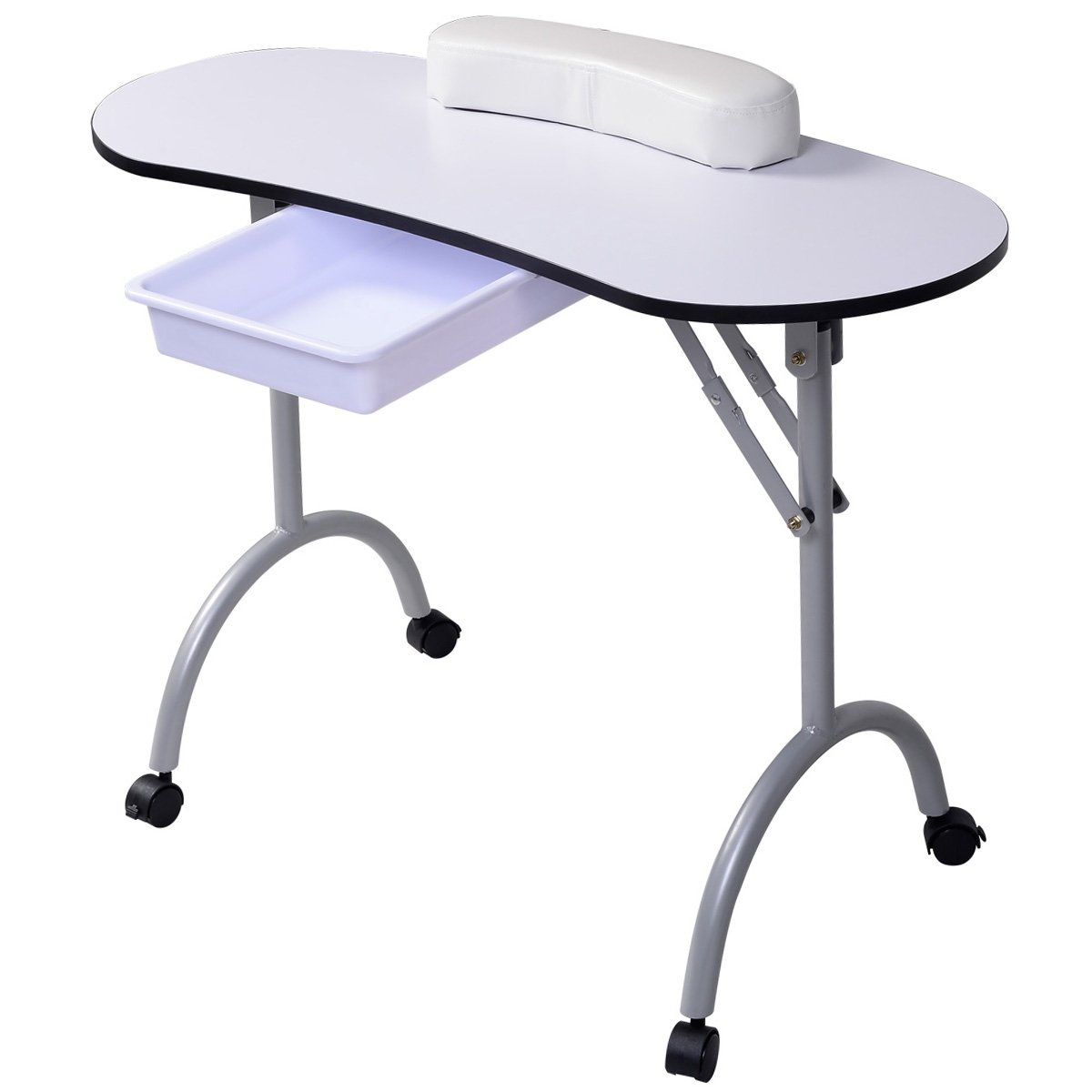 PROSPERLY U.S.Product White New Portable Manicure Nail Table Station Desk Spa Beauty Salon Equipment