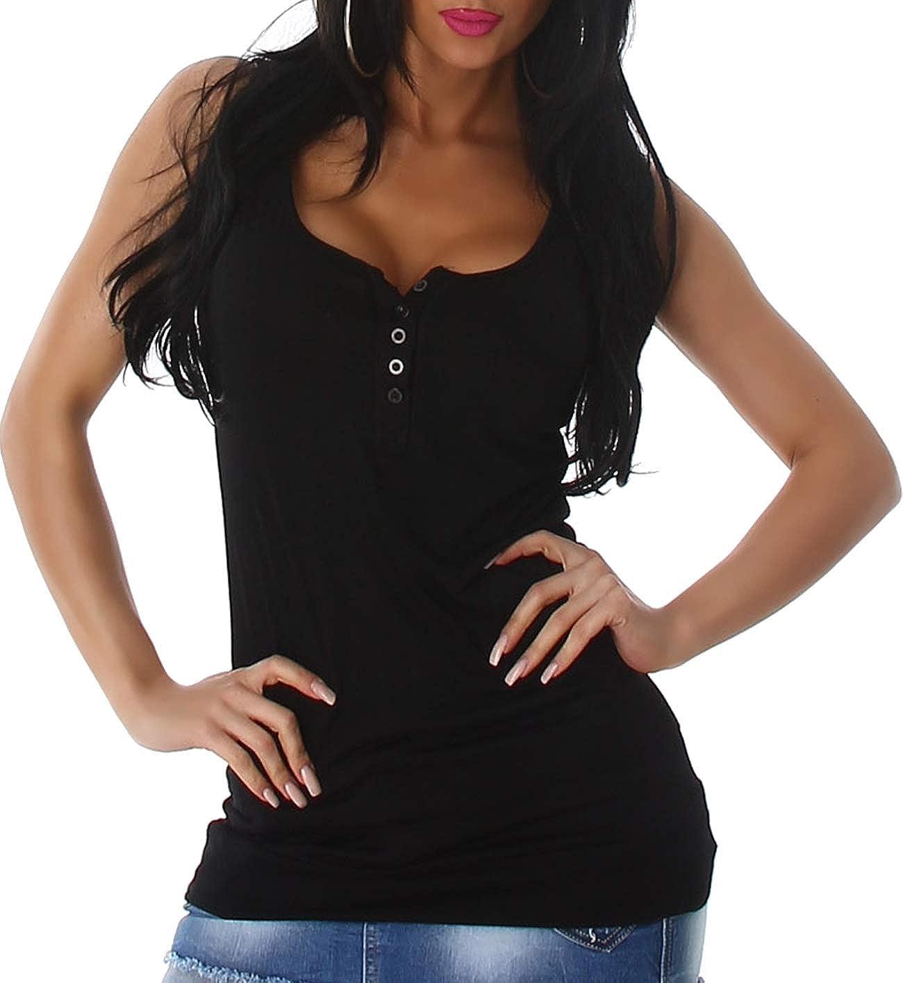 36 38 40 Voyelles Damen Basic Tr/äger Long-Top Knopfleiste Stretch
