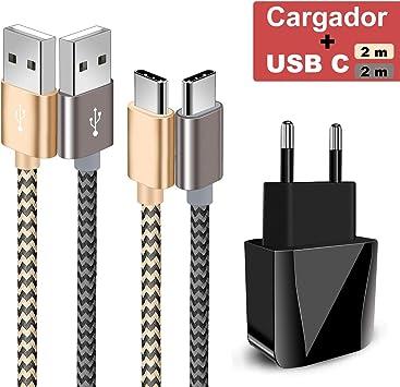 Zeuste-Quick Cargador Móvil con 2 Puertos USB Compatible con la mayoría de Dispositivos móviles,2-Pack 2M Cable USB Tipo C(Gris Gold) para Samsung Galaxy S9/S8+/Nota 8,Sony Xperi,Huawei P9: Amazon.es: Electrónica
