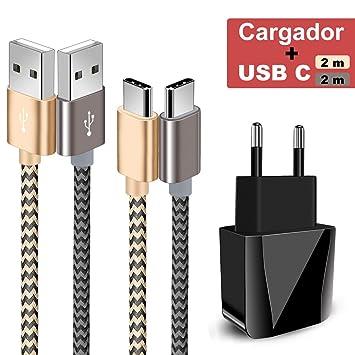 Zeuste-Quick Cargador Móvil con 2 Puertos USB Compatible con la mayoría de Dispositivos móviles,2-Pack 2M Cable USB Tipo C(Gris Gold) para Samsung ...