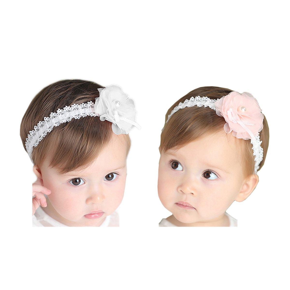 Hocaies 2 St/ück Baby Kinder Haarband M/ädchen Stirnband Kopfband Blumen Bl/üte Haarschmuck Headband Hairband Babygeschenke Taufe Geschenksets 01