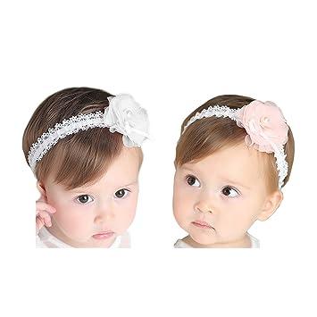 54c1601d7cb399 Hocaies 2 Stück Baby Kinder Haarband Mädchen Stirnband Kopfband Blumen  Blüte Haarschmuck Headband Hairband Babygeschenke Taufe