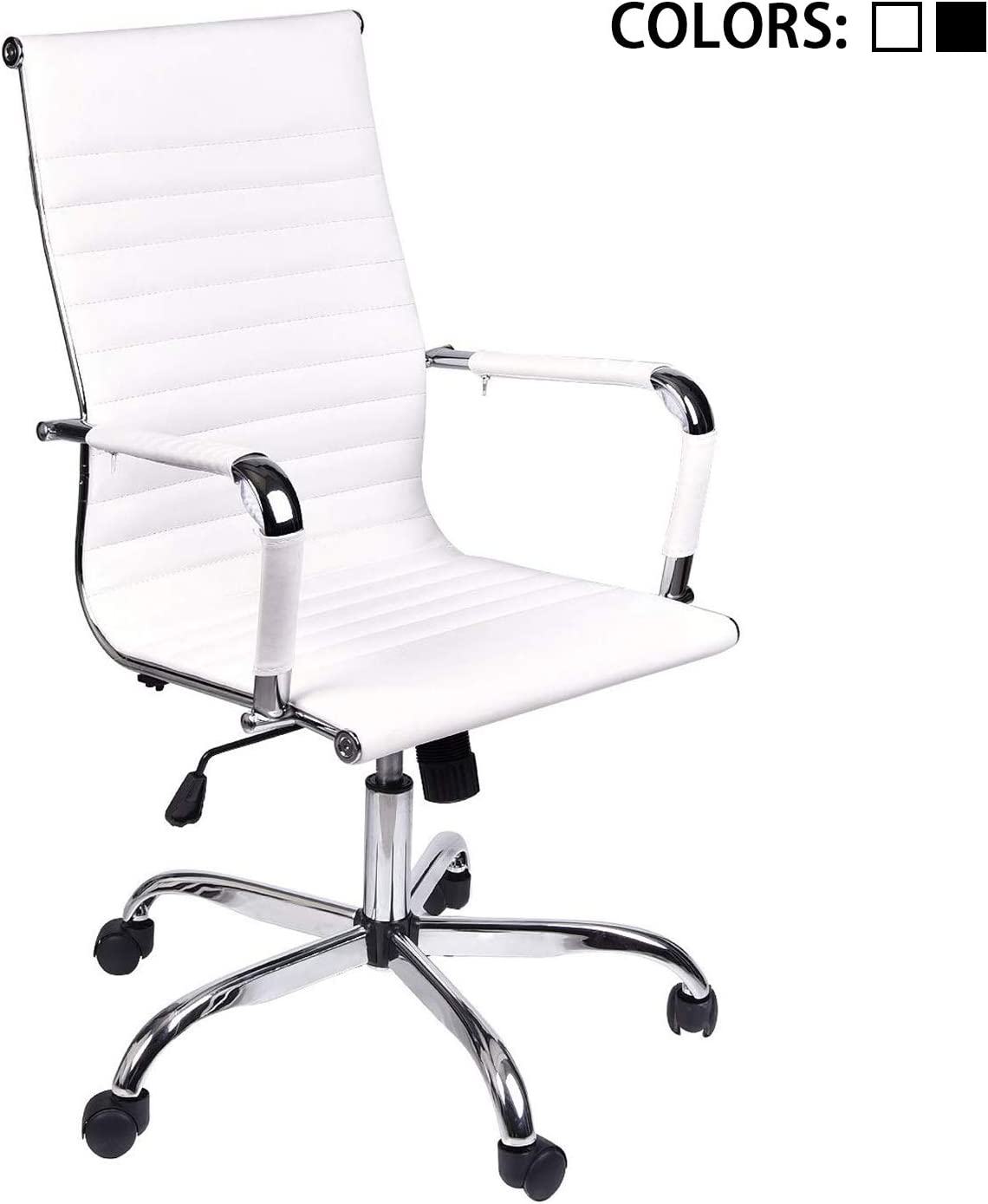 ELECWISH,Adjustable Office Executive Swivel Chair, High Back Padded Tall Ribbed, Pu Leather, Wheels Arm Rest Computer Chair, Chrome Base, Home Furniture, Conference Room Reception (White)