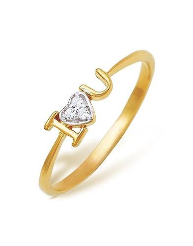 Ishtaa Contemporary 18K Yellow Gold Ring Amazon Jewellery