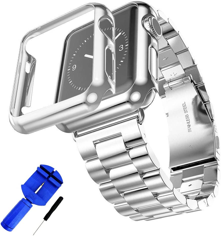HUANLONG Compatible with Apple Watch Band, Solid Stainless Steel Metal Strap Band w/Adapter+Case Cover for Apple Watch iWatch 38/42mm (H Silver 42mm)