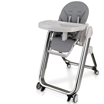 Amazon Com Baby Feeding High Chair Seat Space Saving Baby Toddler Booster Eating High Chair W Wheels Backrest Footrest Height Adjustment Seat Cushion Safety Belt Detachable Food Tray Serenelife Slhc62 Baby