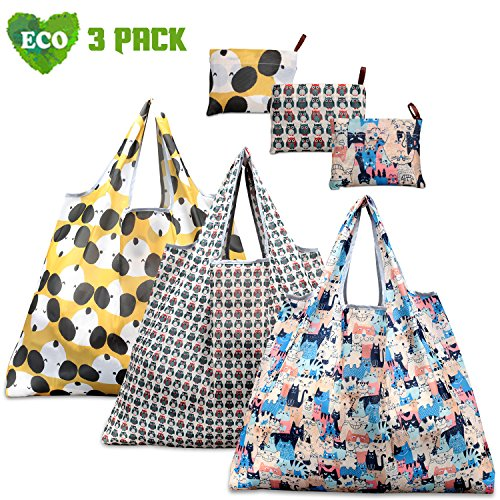 Reusable Grocery Bags, TEOYALL 3 Pack Eco Friendly Large Foldable Grocery Tote Bag Heavy Duty Washable Shopping Bags (3 Pack#1)