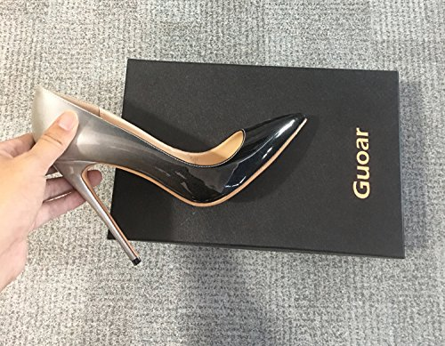 Guoar Womens Gradient Shallow Pointed Toe High Heels Pumps Shoes Black and White ErjVp