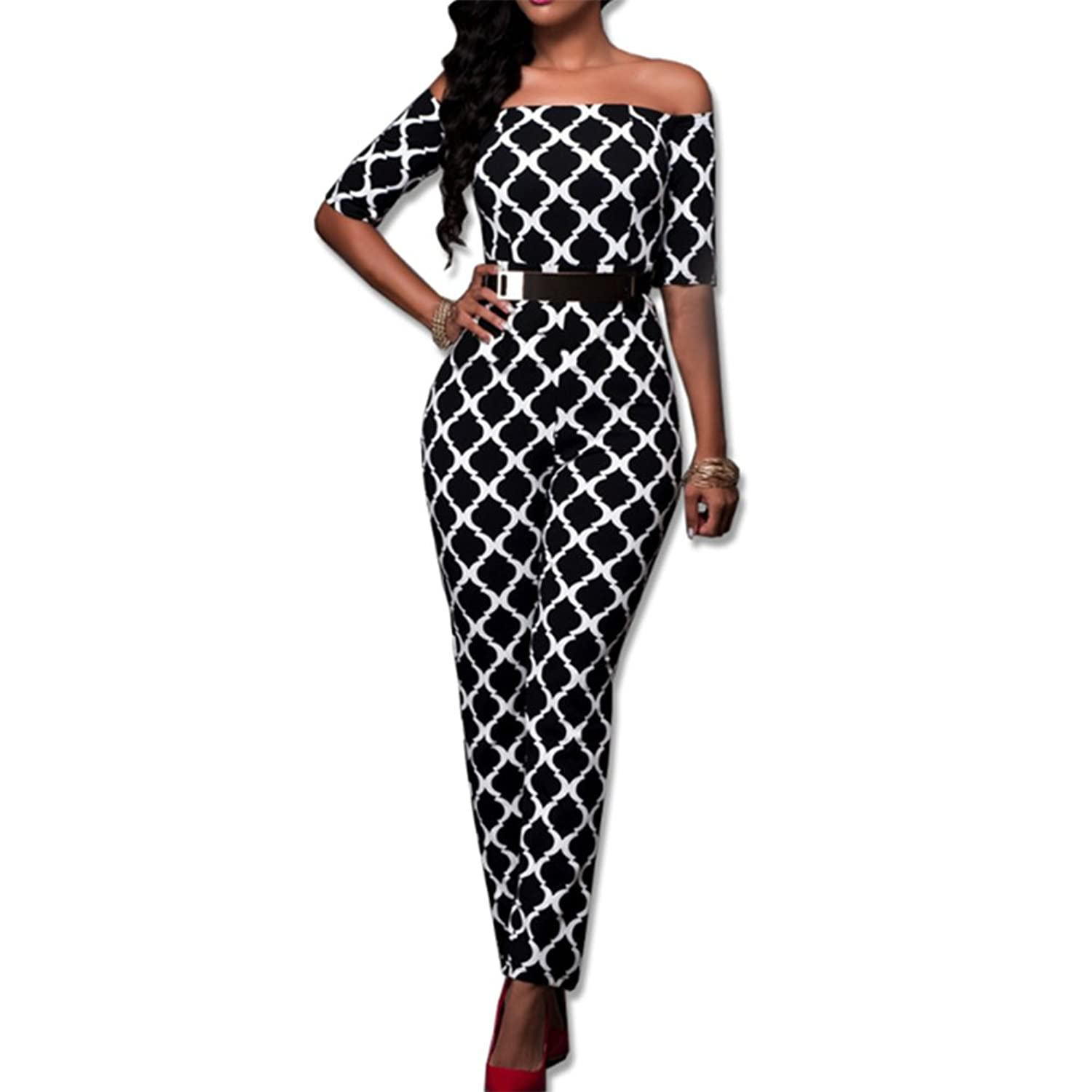 SUNTTON Women Half Sleeve Off Shoulder Plaid Playsuit Club Cocktail Jumpsuit Romper