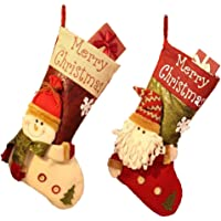 Qcfang Christmas Stockings 2 Pack 18 Inches Big Xmas Stockings Christmas Socks Gift Bags Classic Personalized Large…
