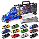 Dr.OX Transport Car Carrier Truck Toy for Boys Includes 12 Metal Cars Handheld Gift (Blue)