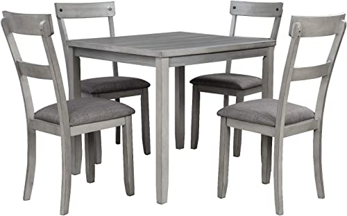 Danxee 5 Piece Kitchen Dining Table Set 4 Wood Chairs Industrial Wooden Kitchen Table and 4 Chair