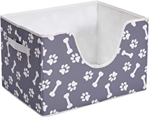 "Brabtod Paw Folding Pet Toy and Accessory Storage Bin for Home Décor, Pet Toy, Blankets, Leashes and Food in Printed ""Dog Paws""Dog Bones"