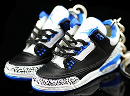 d67edd9600b Amazon.com   Air jordan III 3 Retro Cement Sport Blue Sneakers Shoes 3D  Keychain   Everything Else
