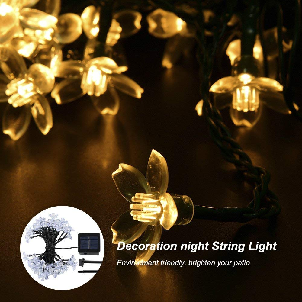 GreenClick 23ft 50 Led Solar Outdoor Cherry Blossom String Lights Warm White for Garden and Indoor Party