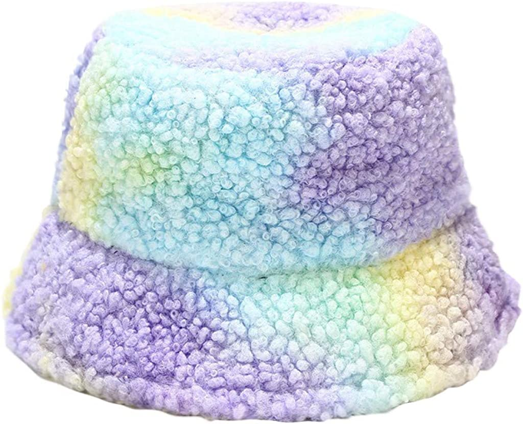 Women Faux Fur Bucket Cap Bush Hat Wide Brim Fluffy Rainbow Winter Fashion
