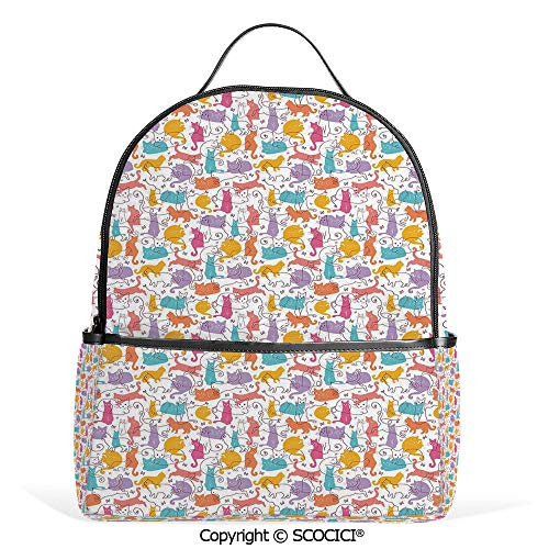 All Over Printed Backpack Colorful Cat Figures Silhouettes and Outlines Bow Ties Sleeping Playing Happy Joyful Decorative,Multicolor,For Girls Cute Elementary School -