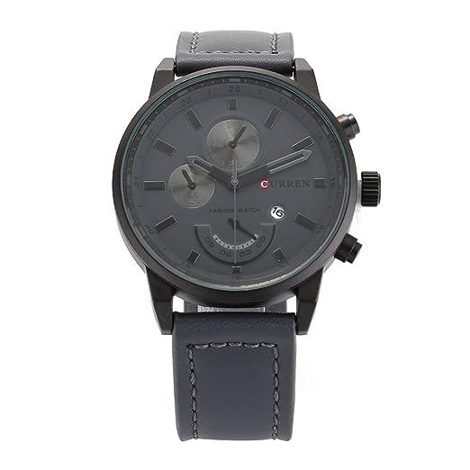 Curren 8217 Hombres Impermeable Calendario Cuarzo analógico Reloj de Pulsera Casual (Negro + Gris)