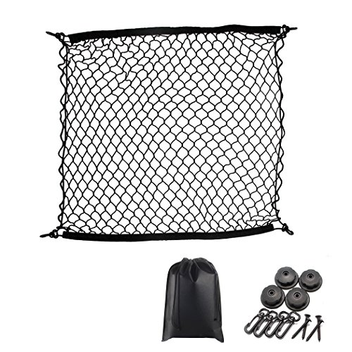 Premium Quality Adjustable Elastic Cargo Net Universal Stretchable Truck Net with Hooks,Storage bag for Car, SUV, Truck, Pickup TrucksBlack 40x40in